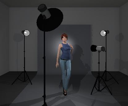 Half body portrait with 4 lights