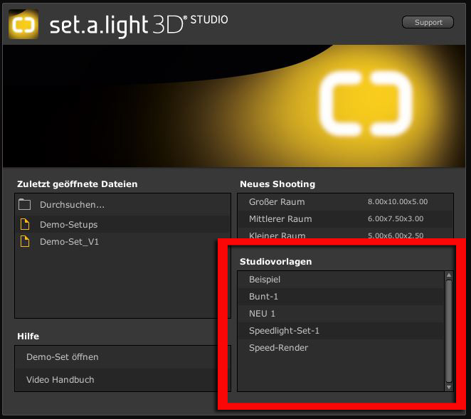 Studiovorlage-Startscreen